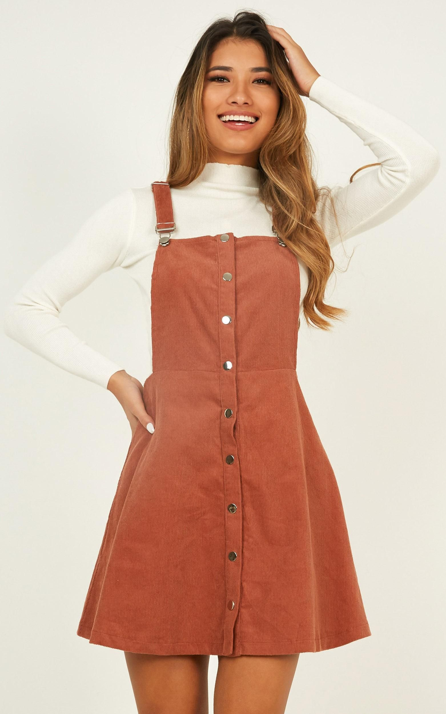 Not For Me Pinafore Dress In Rust Corduroy Produced By SHOWPO #cuteoutfits