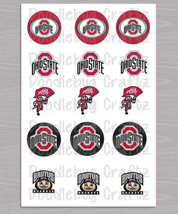 """Ohio State Buckeyes - Printable Bottlecap Images - Instant Download 1"""" circles - 15 images - BRUTUS - OSU on Etsy, $1.19"""