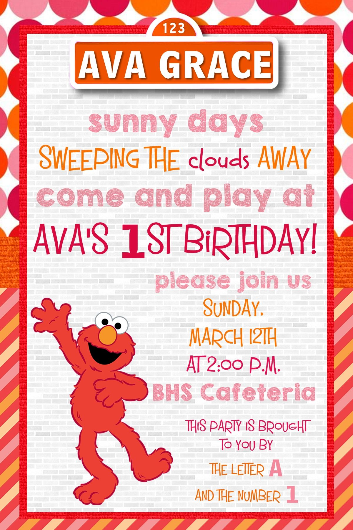 Elmo First Birthday Invitation In Pinks And Oranges