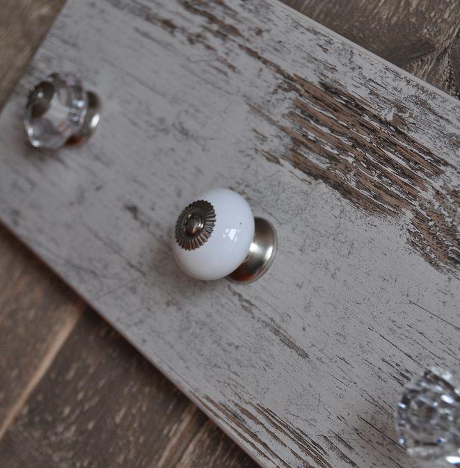 Kapstok steigerhout de LUXE, wit en glans