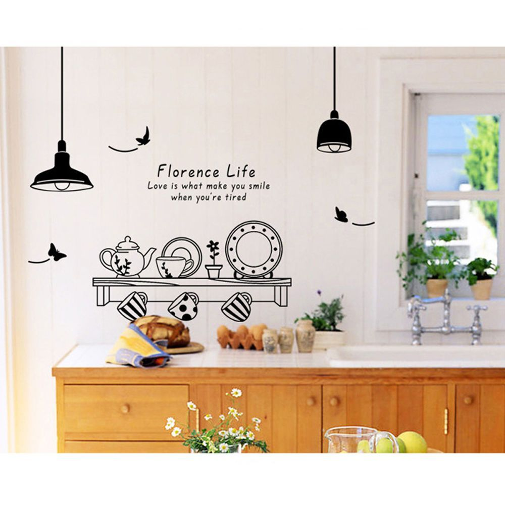 removable kitchen utensil quote wall decal mural stickers art vinyl home decor ebay diy on kitchen decor quotes wall decals id=88305
