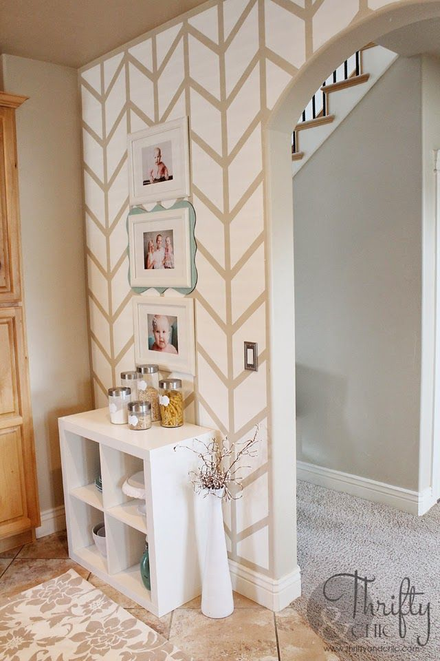 Painted Herringbone Accent Wall with ScotchBlue™ Painter\u0027s Tape