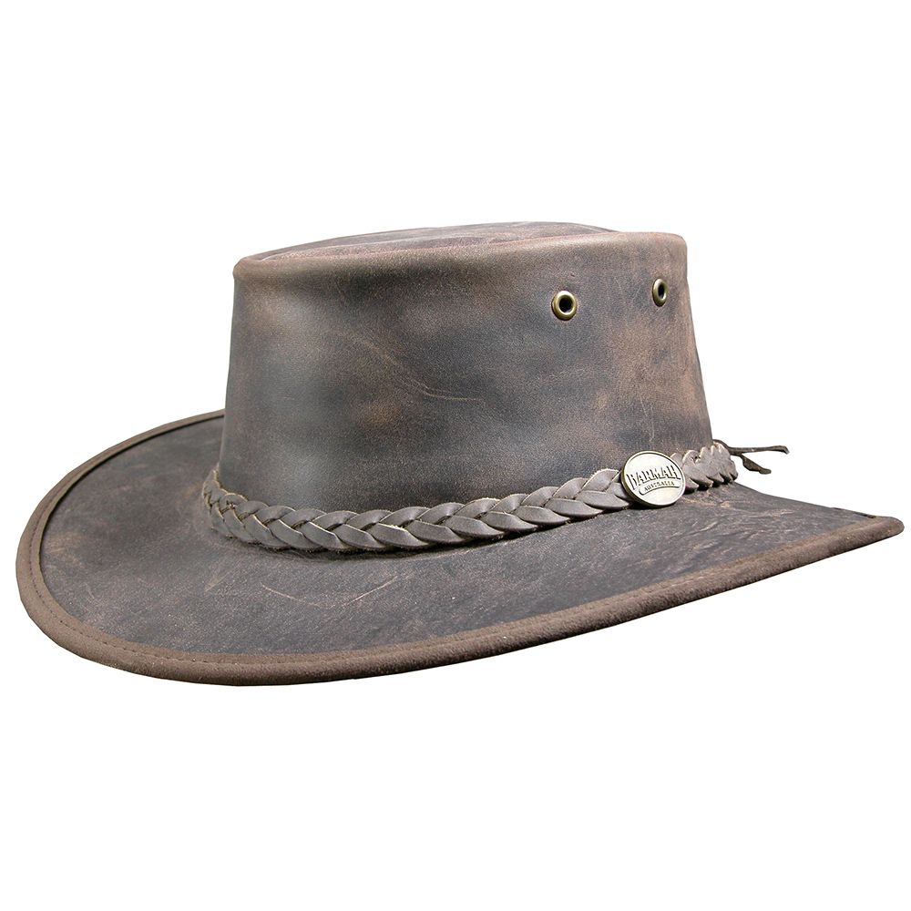 Leather australian bush hat for sun and rain protection