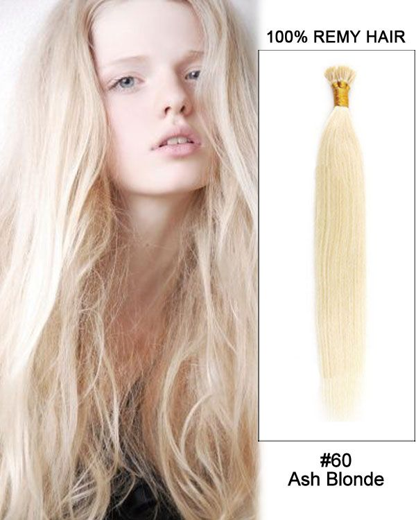 14 60 Ash Blonde Straight Stick Tip I Tip 100 Remy Hair Keratin
