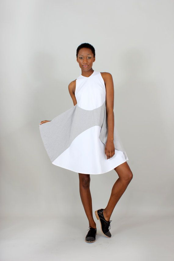 Winged Dress  striped  size small  in stock  on sale by lizarietz, $192.00 // Minimalist Style
