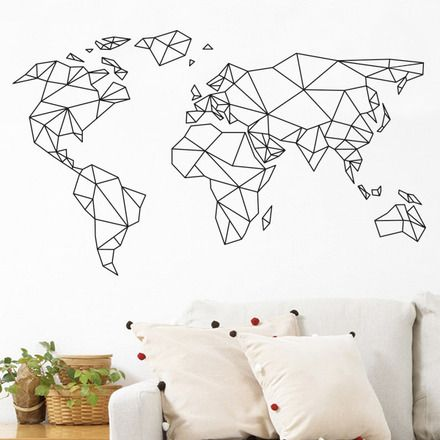 stickers mappemonde carte du monde dimensions 50x30cm couleurs au choix noir blanc. Black Bedroom Furniture Sets. Home Design Ideas