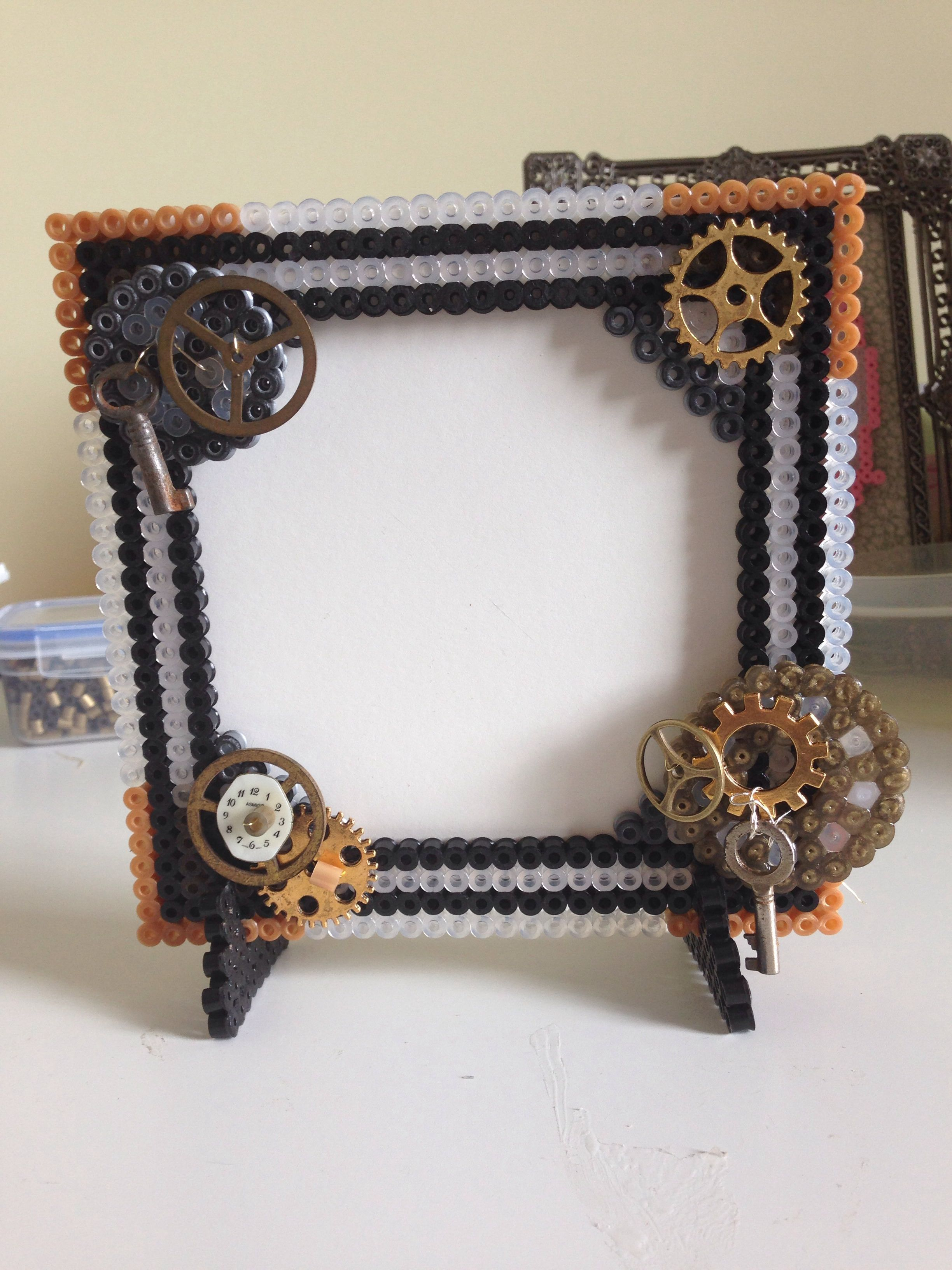 Hama beads from #craftmerrily combined with steampunk findings, all ...