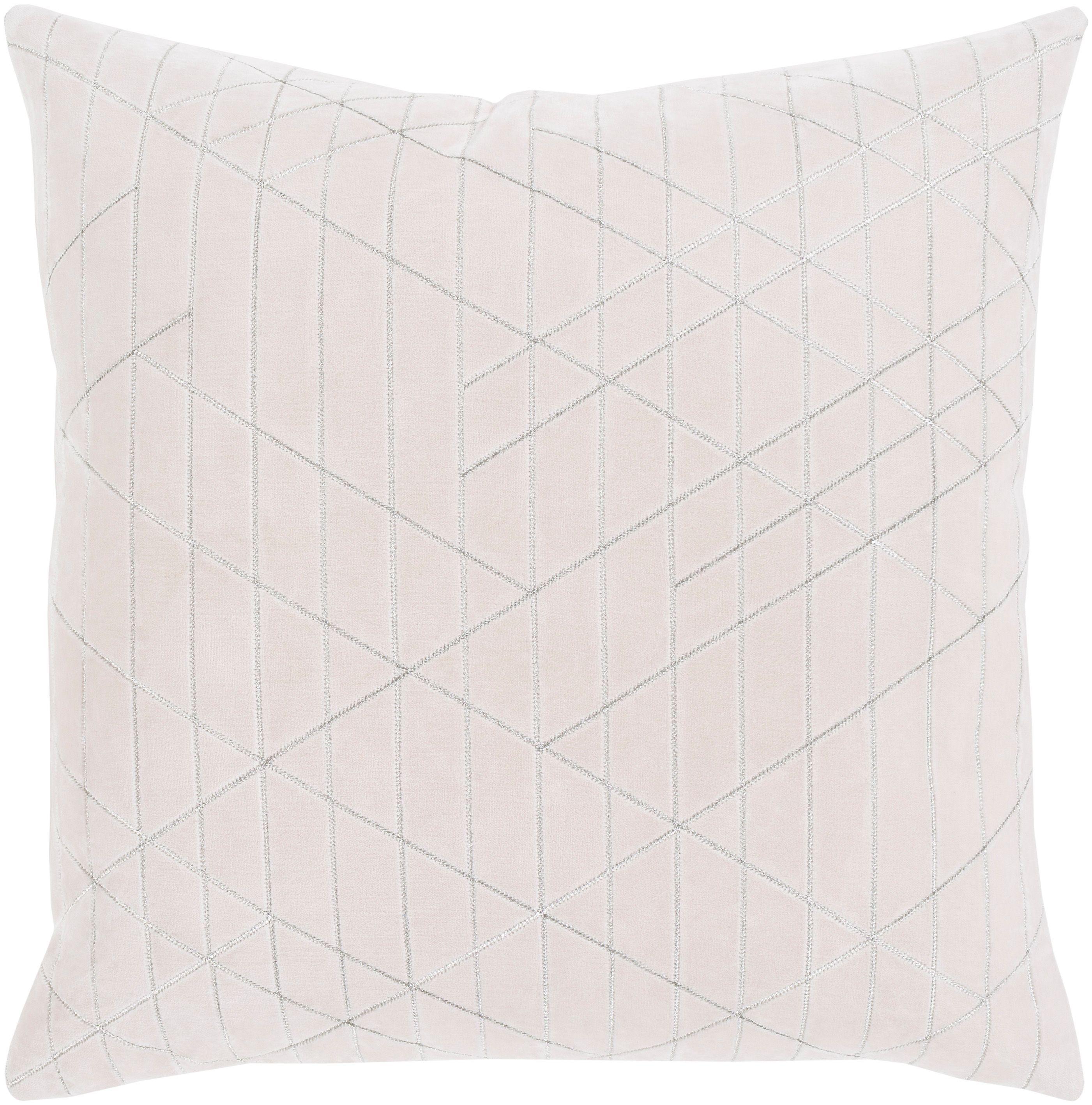 Regan Velvet 22 Throw Pillow Beige Silver Throw Pillows