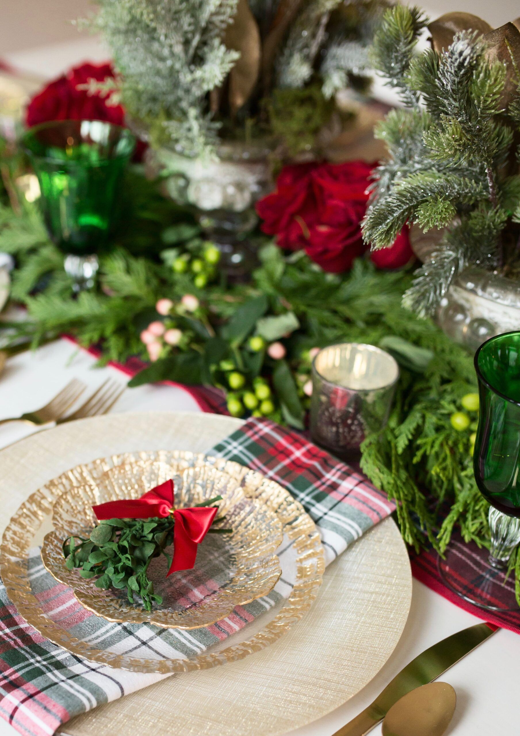 Christmas Table Decor How To Style Your Dining Room Table For Christmas By Limani Designs Red Wh Christmas Table Decorations Table Decorations Christmas Table