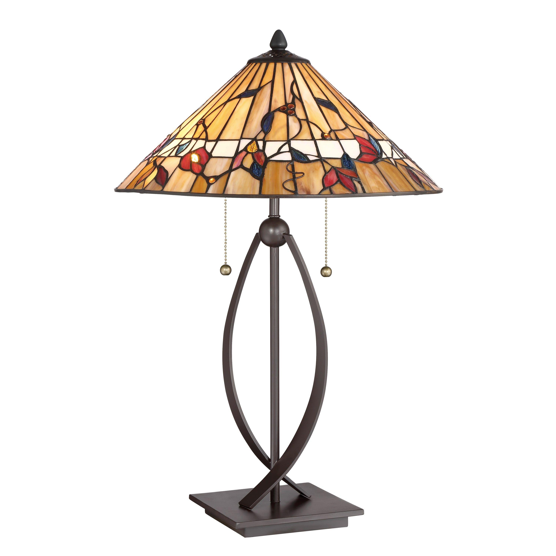 Quoizel Tiffany-inspired Bronze/Multicolored /Resin Trellis Table Lamp