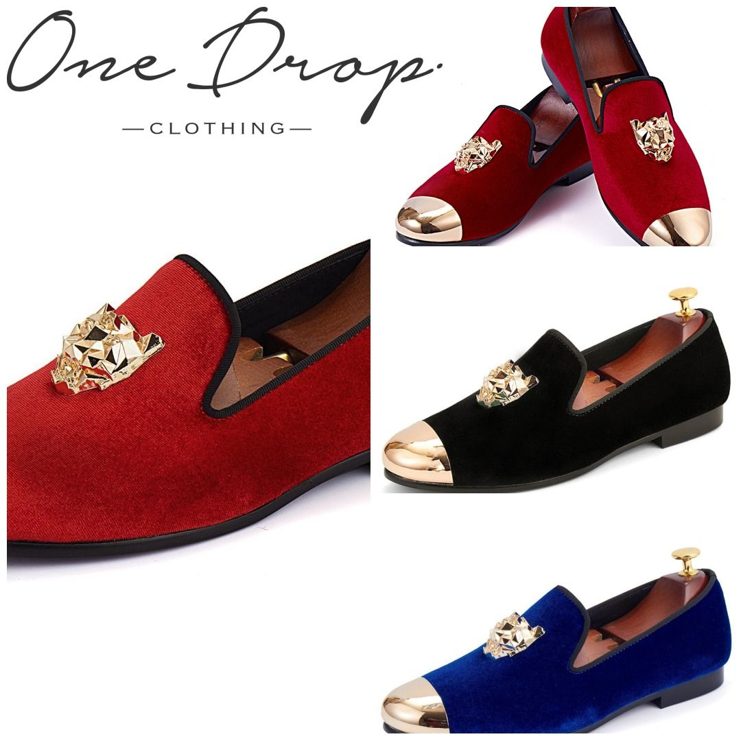 5f6b4e408 Harpelunde Animal Buckle Men Wedding Shoes Red Velvet Slippers Gold Cap Toe  Loafer Shoes