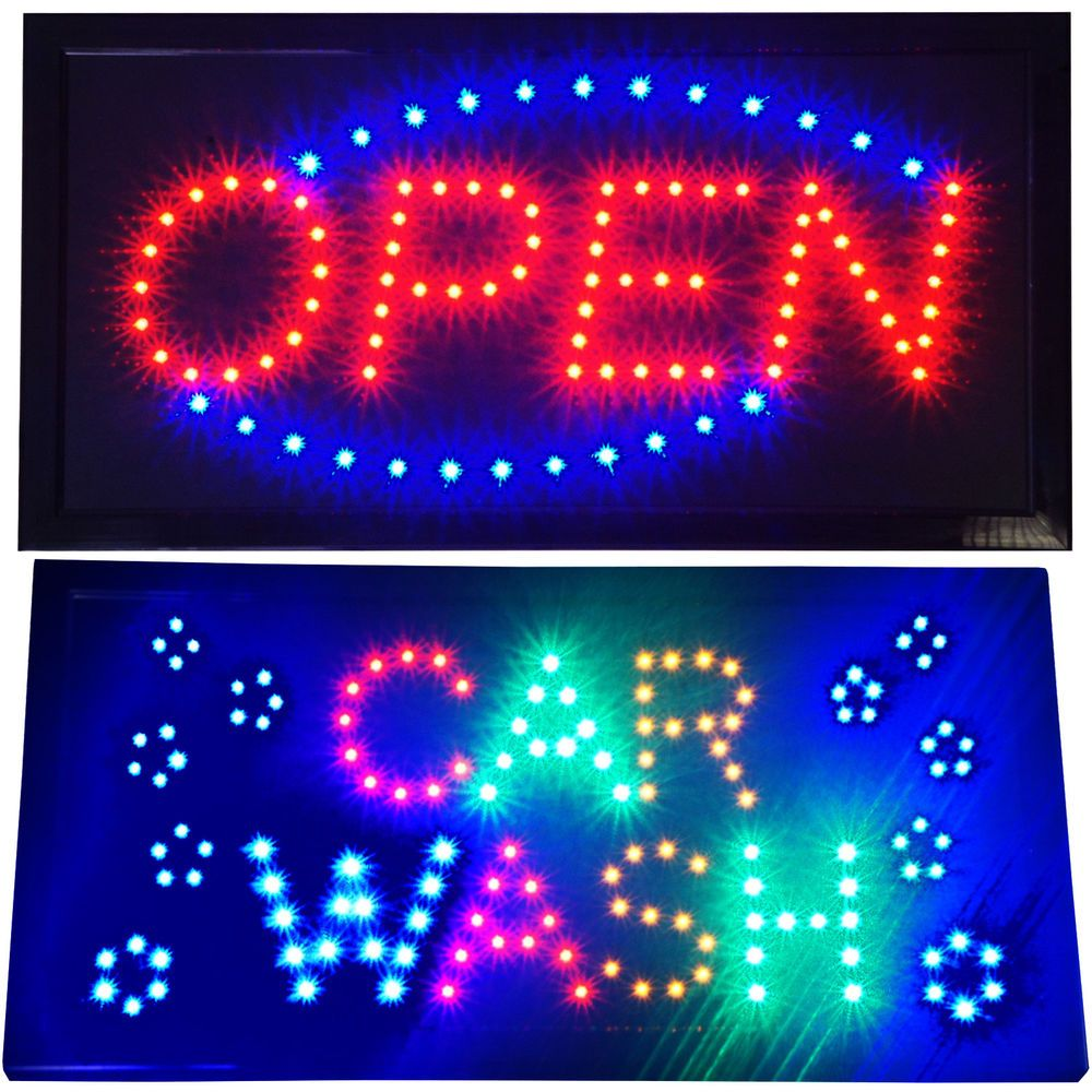 Bright animated Car Wash Shop LED Window Display & Open Business Store Sign…