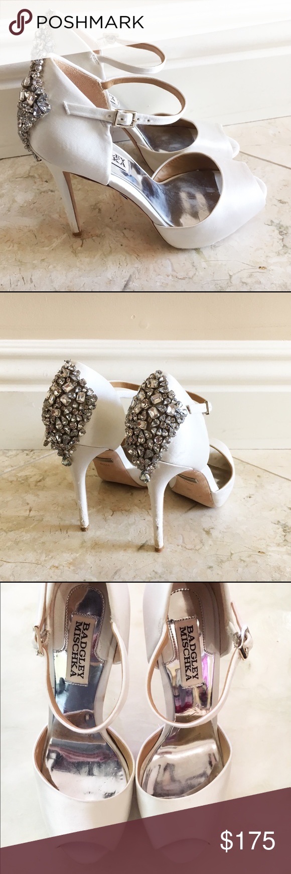 """'Gene' Crystal Back Ankle Strap Pump Gorgeous Badgley Mischka worn once on my wedding day with a few scuffs. These are slightly different from """"Dawn"""" - Gene has a higher platform at 5 inches. Original packaging included with box. Badgley Mischka Shoes Sandals"""