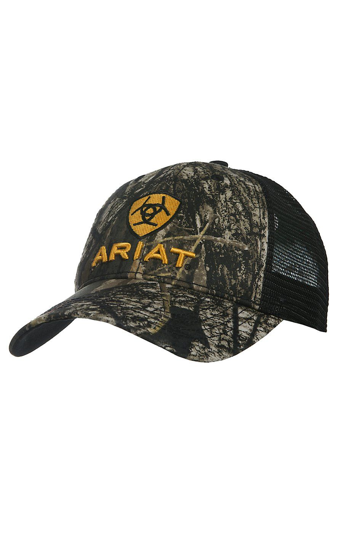 c99aeaa8 Ariat Camo with Black Mesh Back Logo Snap Back Cap | Cowboy Hats ...
