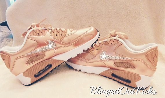 Girl s Nike Shoes Air Max 90 in Rose Gold Red Bronze with hand placed  crystal clear Swarovski® Xirius Crystals. ~TO PLACE AN ORDER~ 1. 7cd9097e40