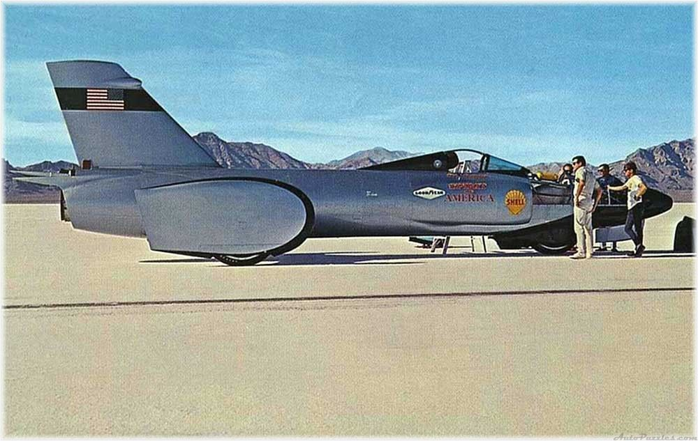 The 1st Spirit of America. This car used a G.E. J47 jet engine from an F-86 Sabre making Craig Breedlove the 1st man to average 400mph setting a Land Speed Record on September 5, 1963. The car is currently on display at Chicago's Museum Of Science And Industry.