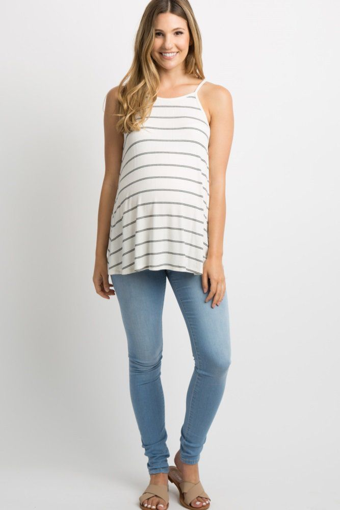 c3732e1503b Black Striped Ribbed Neck Tank Top A striped, ribbed tank top featuring a  high neckline. This style was created to be worn before, during, ...