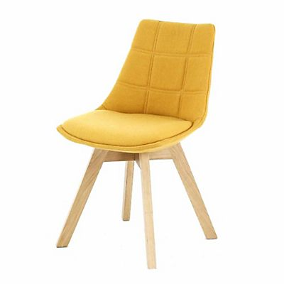 chaise jaune moutarde avec pi tement en bois design scandinave salon salle manger. Black Bedroom Furniture Sets. Home Design Ideas