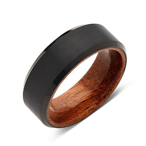 Koa Wood Wedding Ring Black Brushed Tungsten Band Hawaiian 8mm Mens Comfort Fit