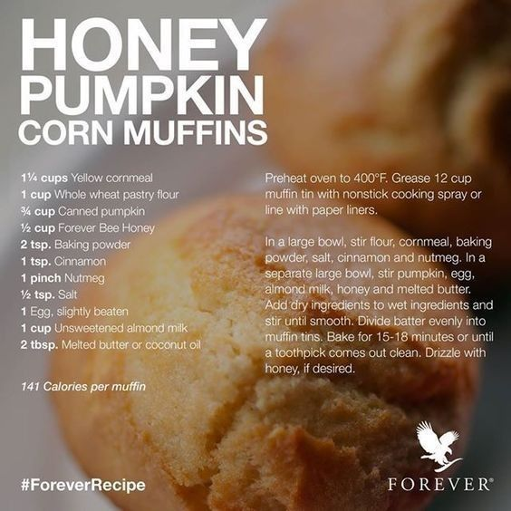 Honey Pumpkin Corn Muffins Using Forever Living Product