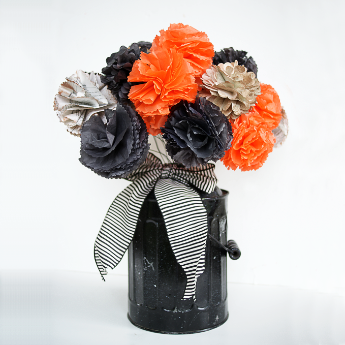 How to Make a Halloween Bouquet Tissue Paper Flowers Tutorial ...