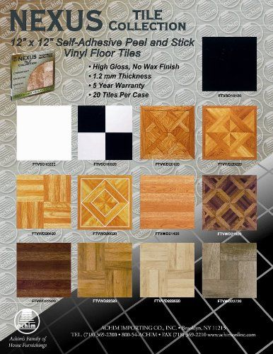 Achim Home Furnishings Ftvso10320 Nexus 12 Inch Vinyl Tile Solid Black And White Pack Of 20 Vinyl Vinyl Floor Covering Vinyl Flooring Peel And Stick Floor