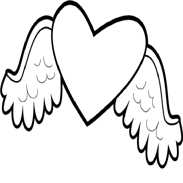 Hearts With Wings And Roses Coloring Pages Free Printable Heart Heart Coloring Pages Coloring Pages Printable Coloring Pages