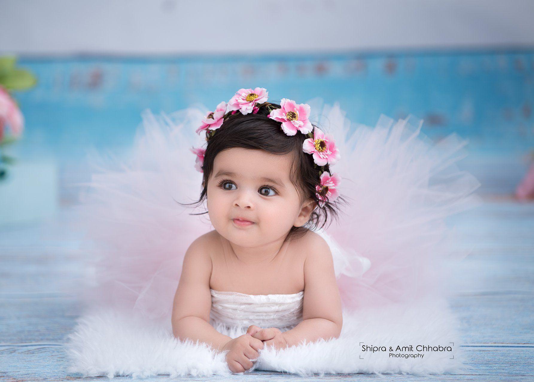 Infant photo shoot baby girl 6 month baby photo shoot ideas tiara floral tiara tutu skirt shipra amit chhabra photography
