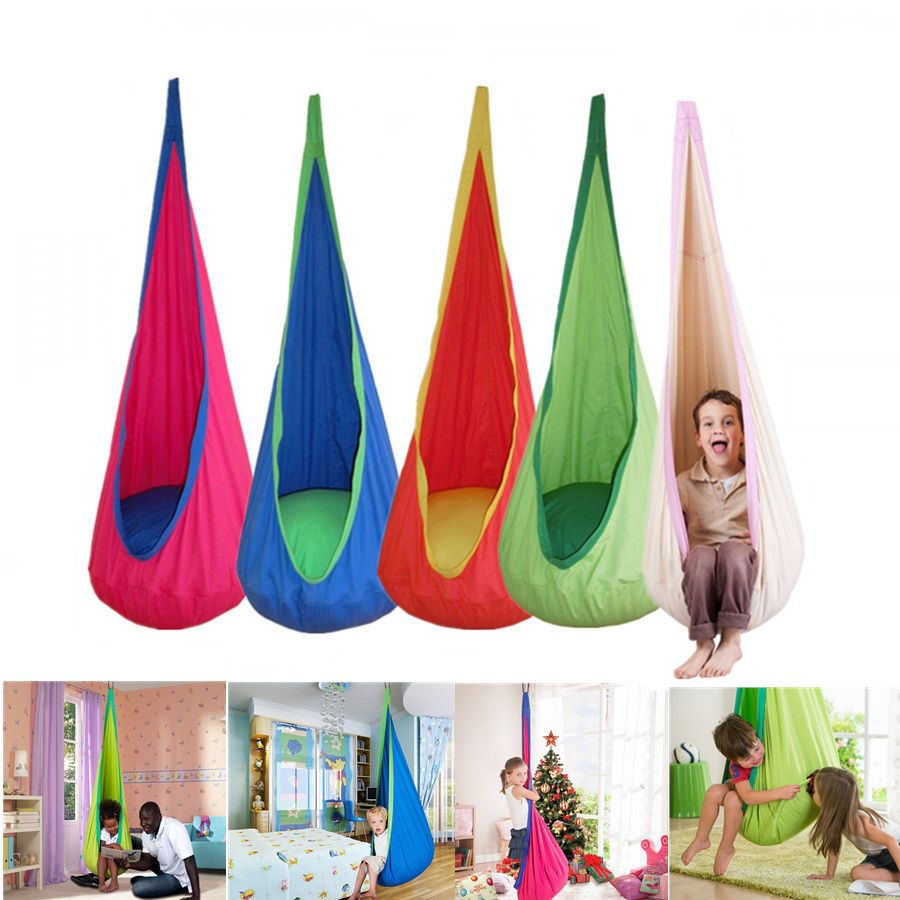 Safety kids children pod swing chair tent indoor garden hanging seat