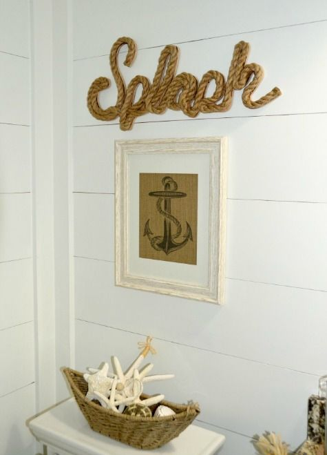 Beachy Bathroom Wall Decor : Nautical beach bathroom with shiplap walls and fun wall