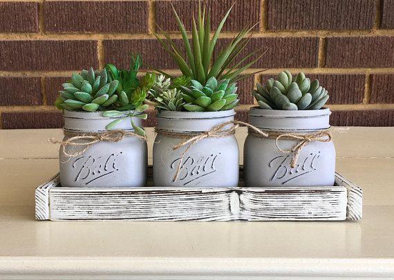 Farmhouse Decor, Artificial Succulent Planter, Mason Jar Decor, Farmhouse Table, Country Decor, Faux Succulents, Mason Jar Gifts