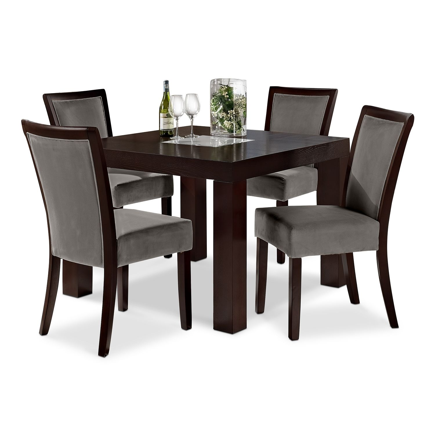 "Tango Gray 5 Pc Dinette 42"" Table Value City Furniture"