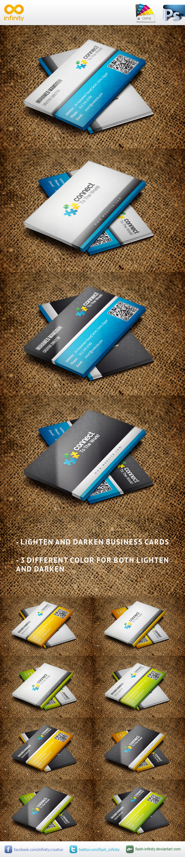 Classic style for the business cards. 2 versions (lighten, and darken) with 3 different colors for each version.  http://graphicriver.net/item/classic-business-card-v2/4252092?ref=pixilito