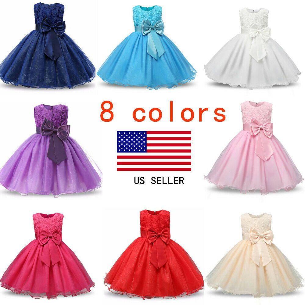 Girls Bridesmaid Dress Baby Flower Kids Party Rose Bow Wedding Dresses Princess.