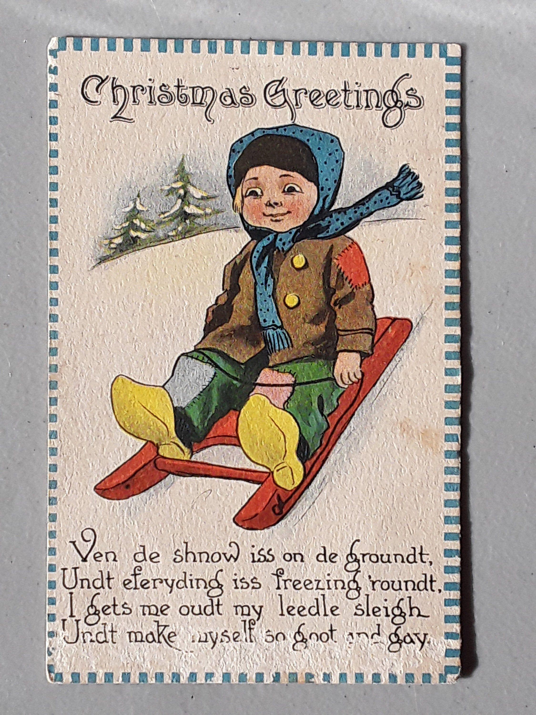 Vintage Christmas Postcard , 1913, Dutch Boy, Cute Poem