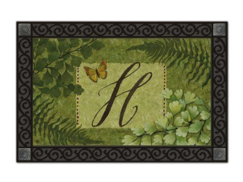 """Nature's Script Monogram H Doormat by MatMates. $15.99. non-slip recycled rubber backing. 18"""" x 30"""" dye sublimated. *****doormat tray not included******. weather proof for indoor/outdoor use. MatMates are the latest addition to Magnet Works' lineup of high-quality decorative accessories. These beautiful mats are permanently dyed with state-of-the-art sublimation printing and made with an all-weather recycled rubber backing.  They measure 18"""" x 30""""."""