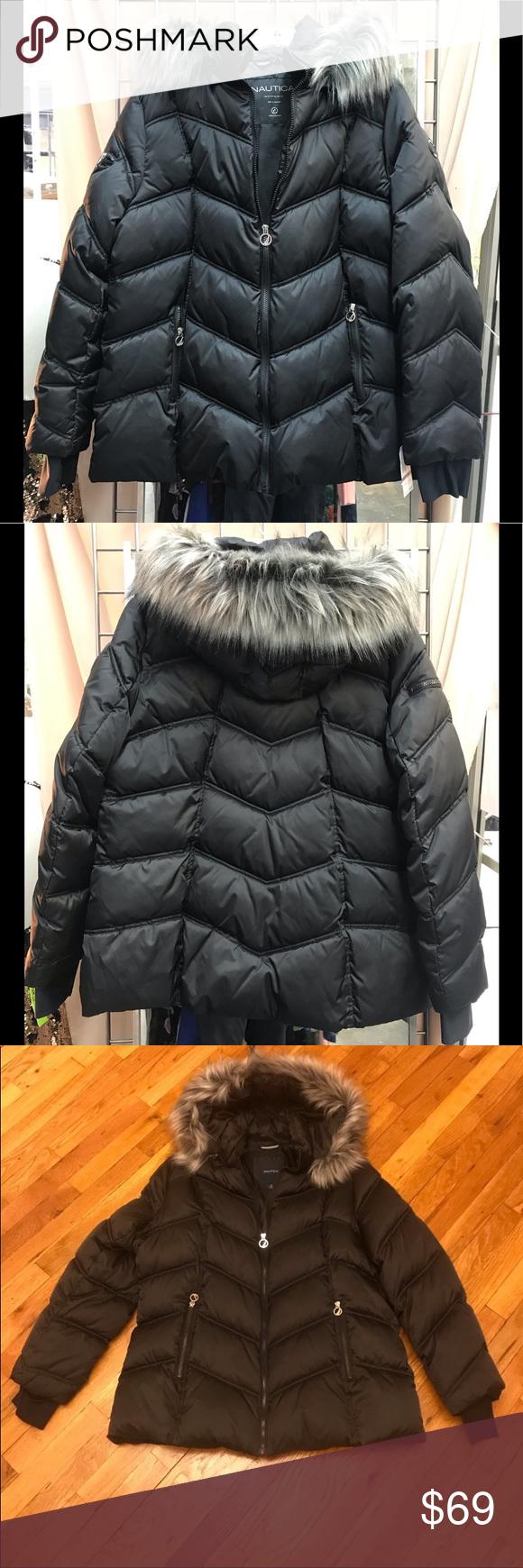 Nautica Short Puffer Coat Faux Fur Trim Hood Nwt Faux Fur Coat Puffer Coat Puffer [ 1740 x 580 Pixel ]