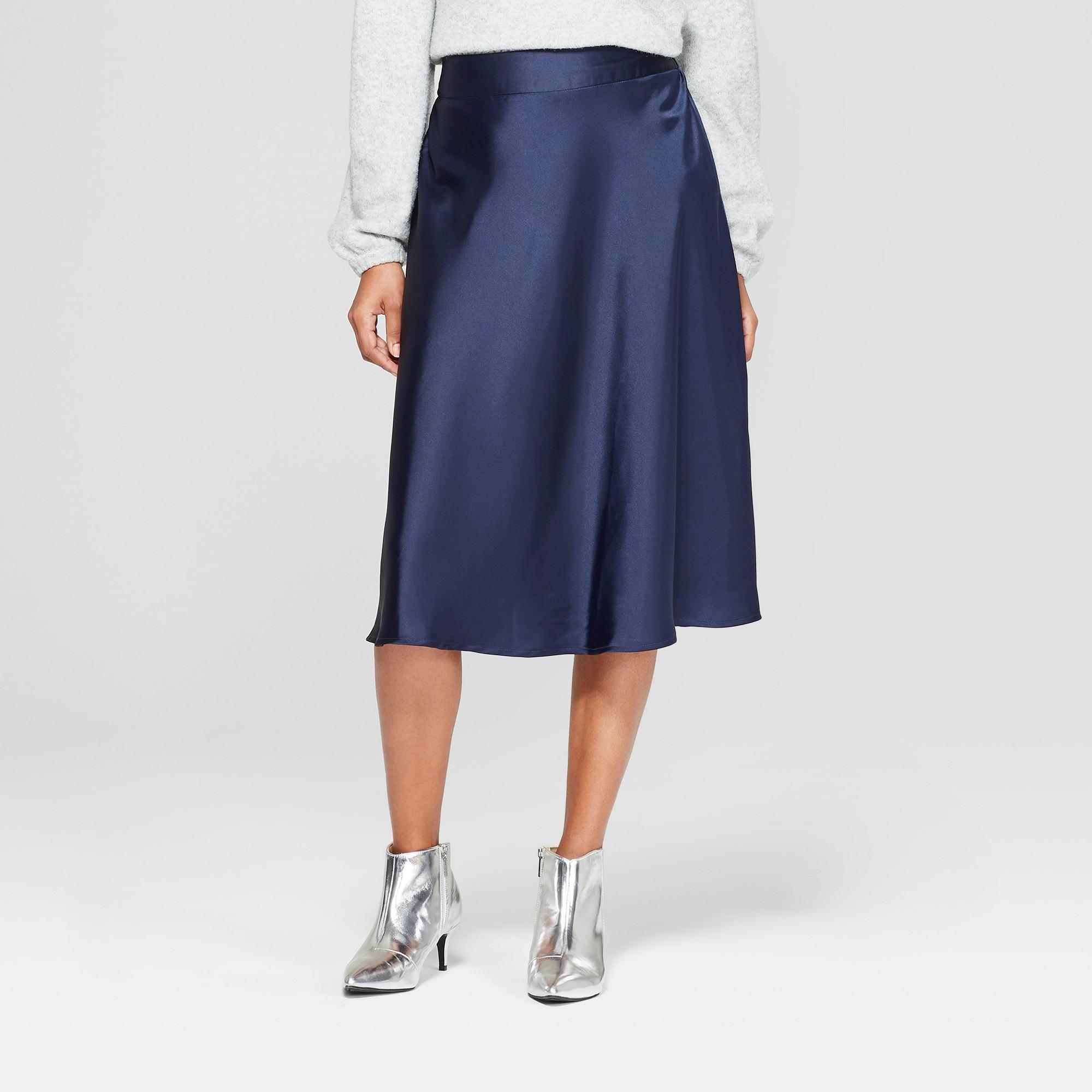 fdaf2ba28 Navy Blue Satin Midi Skirt – DACC