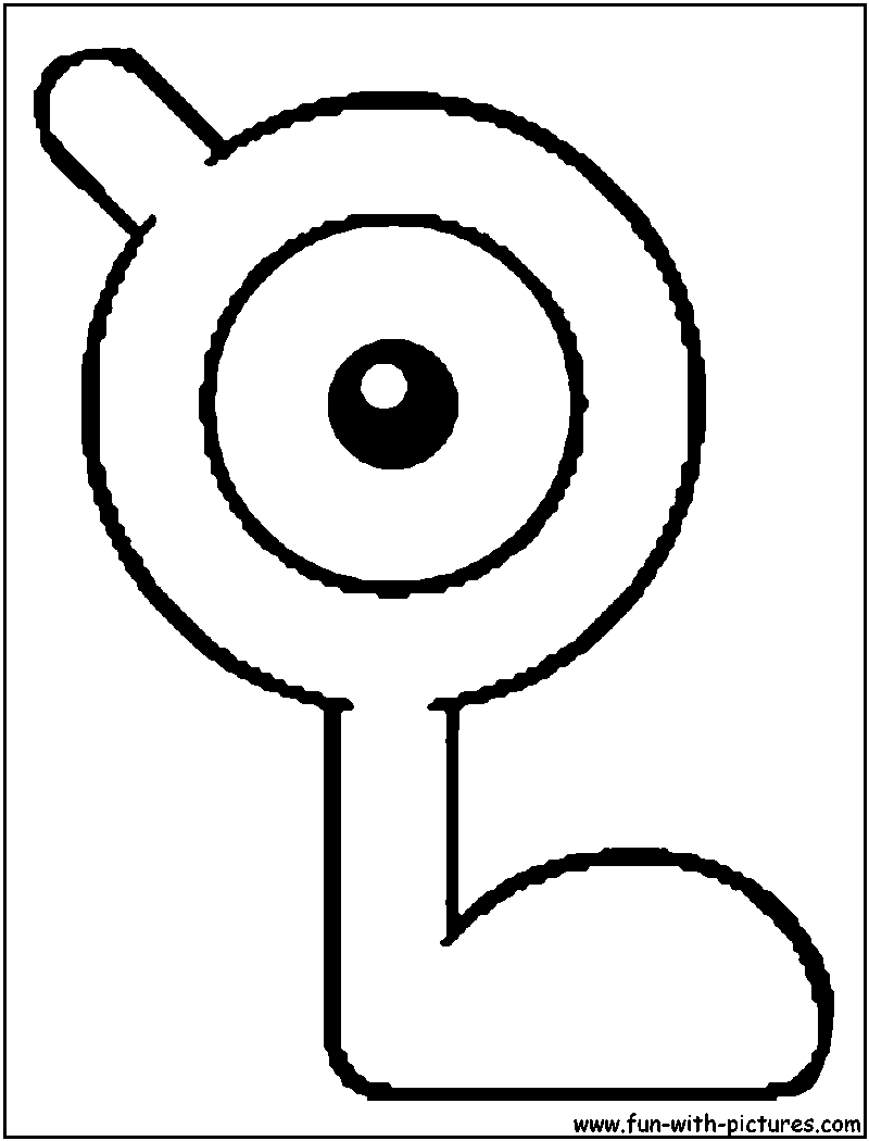 Unown L Coloring Page