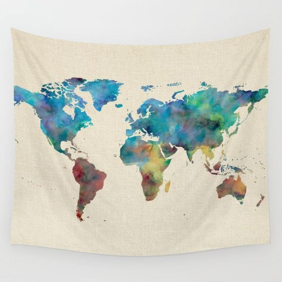 World Map Watercolor Linen Cotton Texture Blue Red Yellow Green