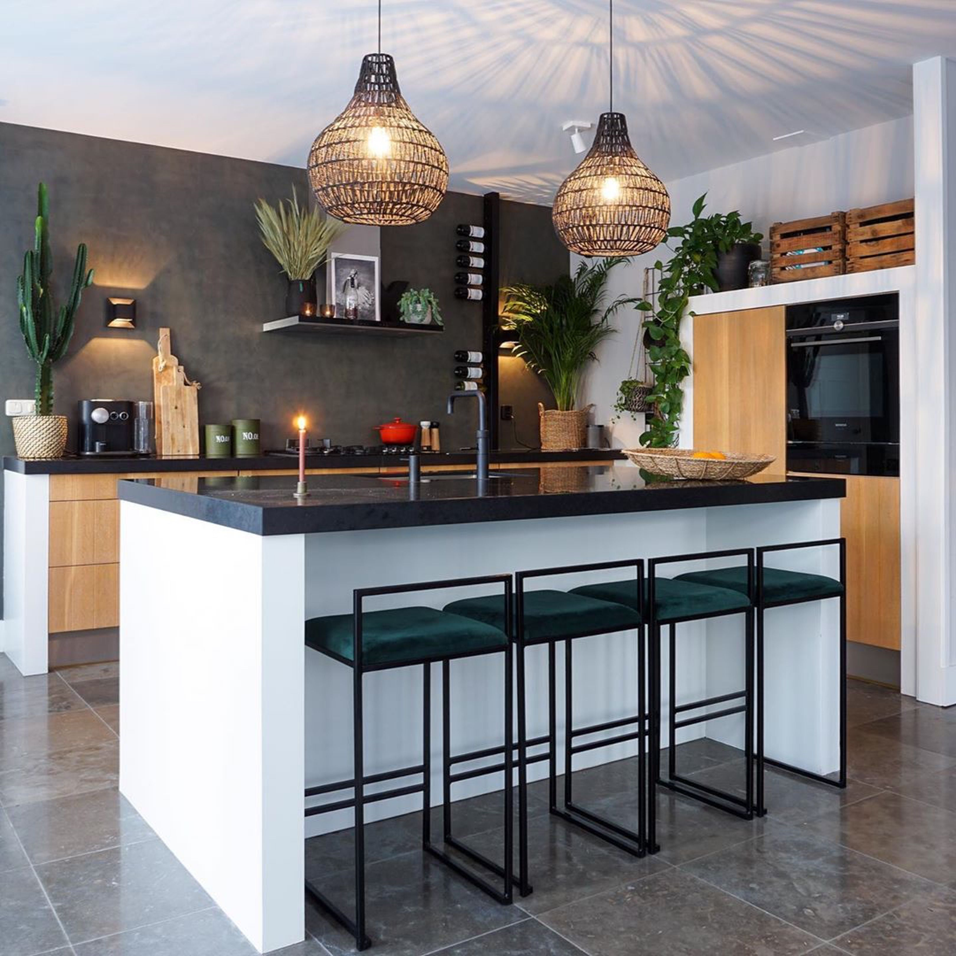 Kitchen isle with Freja bar chairs from by Crea