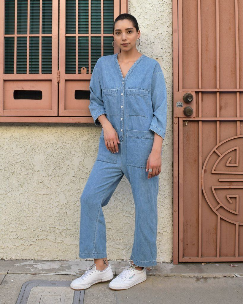 fc1eec62ba9 Tuck Coverall -- laid back and stylish coverall from ilana kohn   shopfuggiamo  denim  jumpsuit