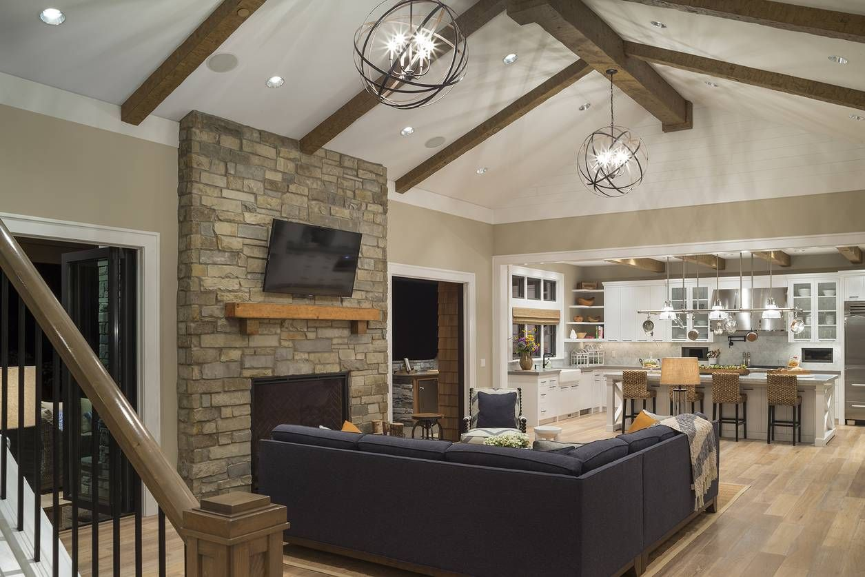 Mascord Plan 2472 - The Chatham Love the kitchen layout and family room with beams