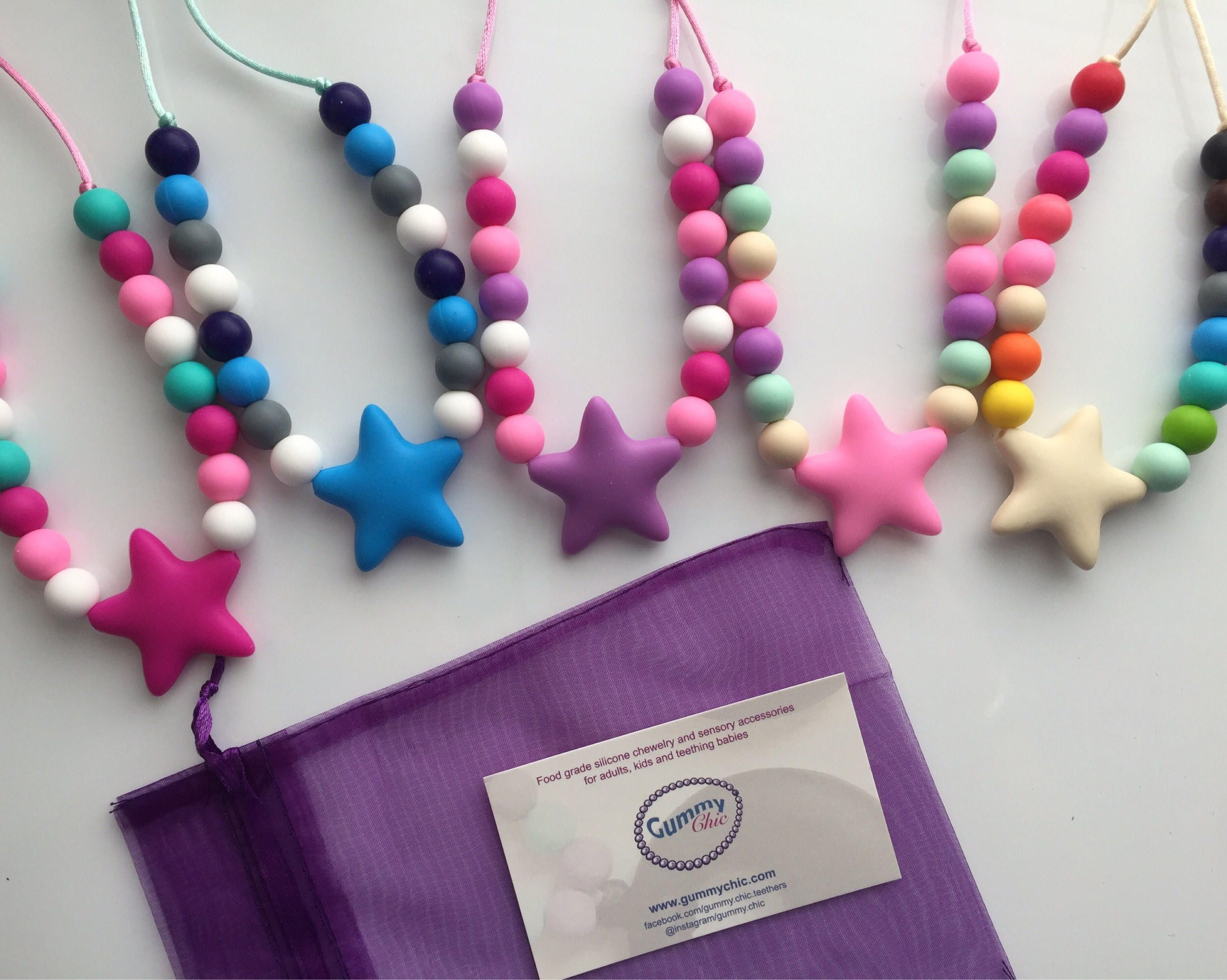 baby star teething necklace silicone sensory jewelry star