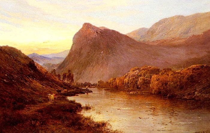 Alfred de Breanski Paintings-Sunset In The Glen