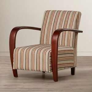 Leather Striped Armchair Vintage Furniture Wood Arms Tub Chair Retro Lounge  New