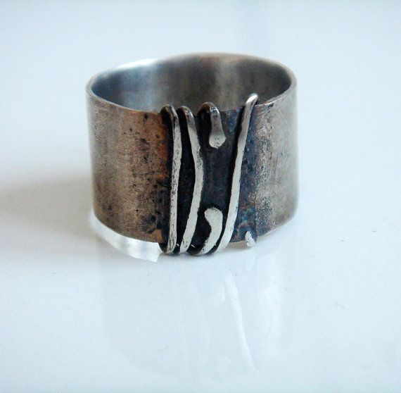 Unique gift for her Original everyday statement jewelry Oxidized wide silver band for women Modern silver cool wrapped contemporary ring