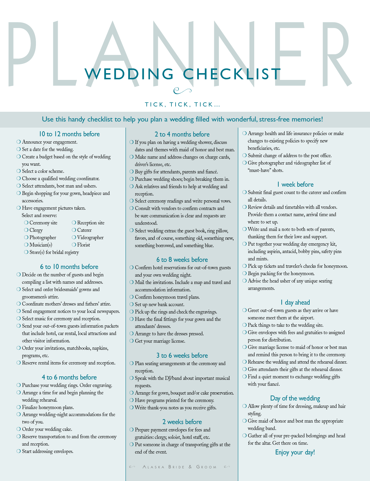 17 Best images about Wedding Checklists on Pinterest | Week by ...
