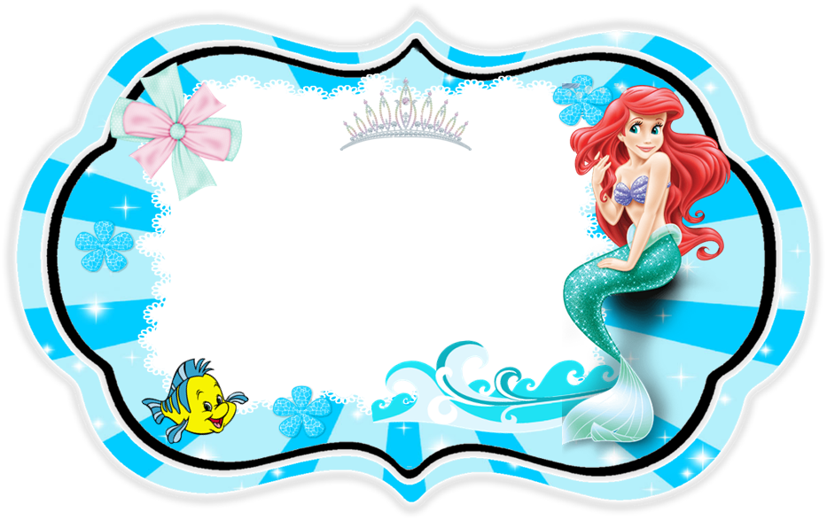The Little Mermaid Free Printable Invitations Cards Or Photo Frames - Little mermaid birthday invitation template