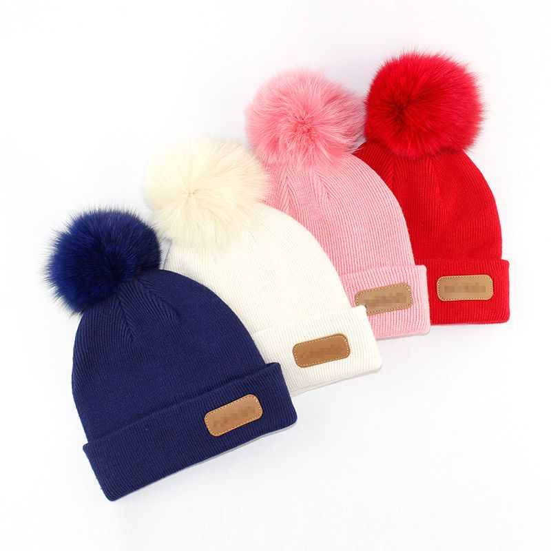 4782d00d6 adult kids New style baby warm winter pom poms hat custom knitted ...